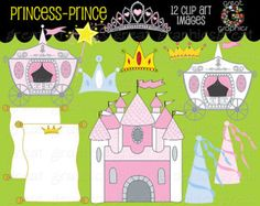 Princess Clipart Princess Clip Art Princess Digital Clip Art Princess Crown clipart Princess Party Instant Download