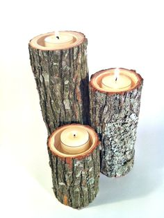Tree Branch Candle Holders Rustic Candle Sticks Log by Worleys, $16.50. I think I can give this a go!