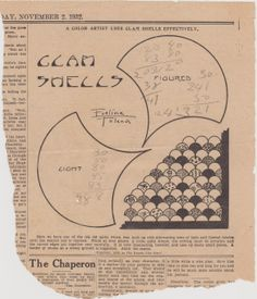 Clam Shells  quilt pattern from The Weekly Kansas City Star Nov 2, 1932