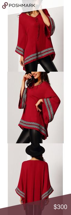 """..coming soon RED EMBROIDERED TOP Stylish 3/4 bell sleeve lace up embroidered top. Bust 41"""" Bundle this top with a pair of earrings and save on shipping. Wear this top day or night. Polyester. -No trades 51twenty Tops"""