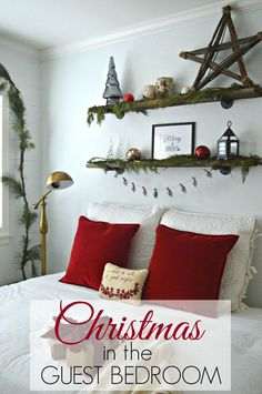 Simple and quick Christmas decor in a bedroom | http://chatfieldcourt.com