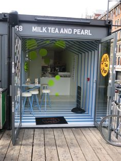 Box Park London #wrst14 Container Coffee Shop, Container Shop, Container House Design, Shipping Container Sheds, Shipping Container Restaurant, Small Coffee Shop, Coffee Store, Café Design, Box Park