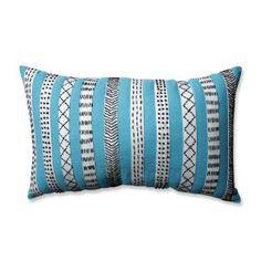 Tribal Bands Turquiose-Cream-Black Rectangular Throw Pillow