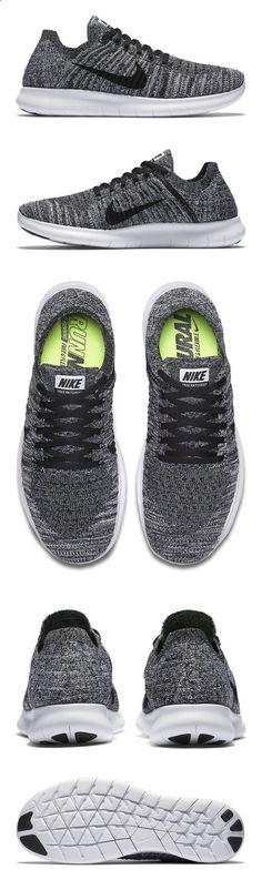 $130 - Nike Women's Free Rn Flyknit Running Shoe White/Black 9 B(M
