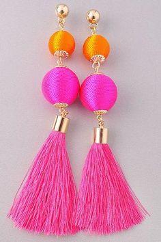 Vivid tassel Ball earrings in Pink/Mango