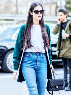 On Gilda Ambrosio: Céline sunglasses; Chanel bag. Style Notes: A long-line cosy cardigan is exactly what your boyfriend T-shirt and straight-leg jeans need to catapult them into...
