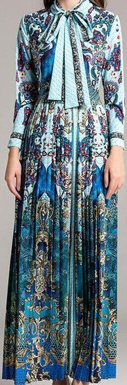 Paisley Peacock Print Dress with Neck-Tie