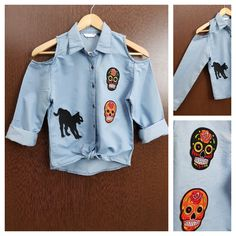 Hurry before stock runs out: Patched - Denim C..., visit http://ftfy.bargains/products/patched-denim-cold-shoulder-shirt-with-front-knot-black-cat-skulls?utm_campaign=social_autopilot&utm_source=pin&utm_medium=pin  #amazing #affordable #fashion #stylish