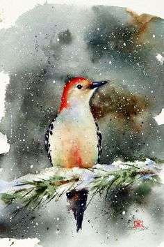 Dean Crouser Watercolor Art featuring Hummingbird, Nature, Flower, and Bird prints, paintings Watercolor Paintings Nature, Watercolor Bird, Watercolor Animals, Paintings Of Birds, Unique Paintings, Watercolor Portraits, Watercolor Christmas Cards, Winter Painting, Painting Snow