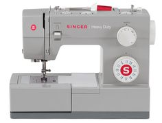 This SINGER® HEAVY DUTYsewing machine is a true workhorse. With a heavy duty metal interior frame, stainless steel bedplate, extra-high sewing speed and powerful motor, it can sew through just about anything you throw at it. Convenience features including an automatic needle threader, top drop-in bobbin, fully automatic 1-step buttonhole and drop feed for free motion sewing adds a new dimension of ease to heavy duty sewing.