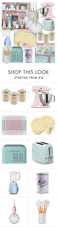 """""""Pastel Kitchen"""" by hubunch ❤ liked on Polyvore featuring interior, interiors, interior design, home, home decor, interior decorating, Typhoon, KitchenAid, Portmeirion and Dot & Bo"""