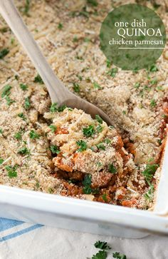 A one-dish chicken Parmesan casserole with quinoa – all the ingredients get put in a casserole dish and baked – no need to pre-cook the chicken or quinoa! (use GF breadcrumbs)
