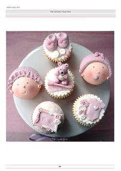 Baby Cupcake, Fondant Baby, Fondant Cupcakes, Baby Shower Cupcakes, Cupcake Cookies, Shower Cakes, Cupcake Ideas, Cupcake Toppers, Pretty Cupcakes