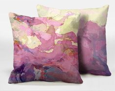 A pair of decorative throw pillows with abstract art, 16x16, 18x18, 20x20, pink and lavender accent pillows, finished pillows, Pink Tutu 3