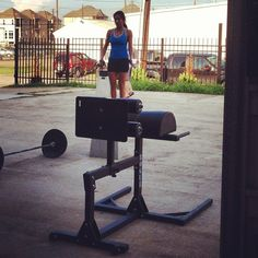 Uh, YEAH. Felicia is so small, she's able to stand on a GHD pad. #crossfitHtown #HTownies