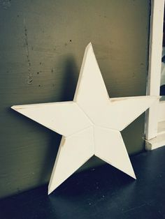 """Wooden star decor, 13"""" tall, 1"""" thick, rustic, antiqued paint job, solid hardwood, reclaimed wood, weathered, simple, reclaimed wood https://www.facebook.com/Stars-and-Pipes-1902630126716039/ #woodstars #homedecor #carpentry @starsandpipes #rustic #love #country #perfection"""