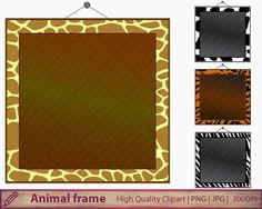 Animal print frames clipart, tiger zebra cow giraffe clip art, scrapbooking, digital instant download, commercial use, png jpg 300dpi