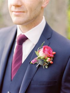 Beautiful pink boutonniere: http://www.stylemepretty.com/destination-weddings/2015/03/17/vintage-chic-irish-wedding-at-castle-durrow/ | Photography: Lisa O'Dwyer - http://www.lisaodwyer.com/
