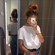 bracelets + black tattoo choker + high messy bun + white tshirt + high waisted blu jeans