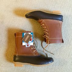 NWT✨ Duck Boots New with tags. Cognac and black(very very dark navy?) with laces. True to size, *brand is Khombu as you can see in photos*. No PayPal, no trades, offers via offer button only! L.L. Bean Shoes Winter & Rain Boots