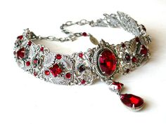 Red Gothic Choker - Victorian Swarovski Bridal Silver Choker - Bridal Necklace -Gothic Jewelry - Wedding Jewelry