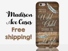 She's A Wild Child Got A Rebel Soul Country Music Blue Gypsy Soul Feather Wood Samsung Galaxy Edge S5 S6 S7 iPhone 4 5 6 6s Plus Phone Case