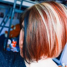 red bob with bright highlights