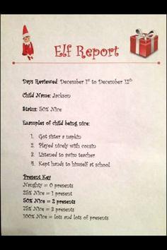 elf on a shelf report | Elf on a Shelf report card! by dina
