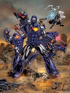 "astonishingx: "" X-men vs Sentinels by Mike Deodato Jr. Comic Book Characters, Marvel Characters, Comic Character, Comic Books Art, Comic Art, Marvel Villains, Marvel Comics Art, Marvel Heroes, Captain Marvel"