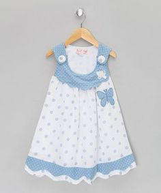 Honey Blue Butterfly Jumper - Infant, Toddler & Girls by Powell Craft Toddler Girl Style, Toddler Dress, Toddler Outfits, Baby Dress, Infant Toddler, Toddler Girls, Little Dresses, Little Girl Dresses, Girls Dresses