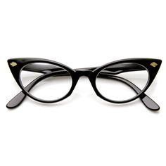Womens Fashion 60's Era Leaf Accent Clear Lens Cat Eye Glasses