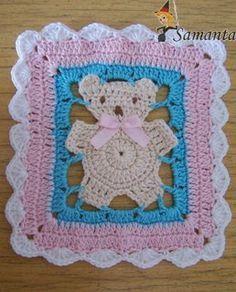 ✼✼ Crochê com Motivos em Quadrado Urso -  /  ✼✼  Crochet  with Motifs in Square Bear -