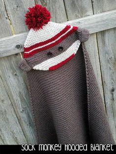 Knitting pattern for Sock Monkey Hooded Blanket and more sock monkey knitting patterns