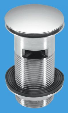 "McAlpine 1¼"" Chrome Plated Brass Basin Waste - Backnut Model: 60mm Flange x 3½"" Tail with Spring-Loaded Mushroom Plug"