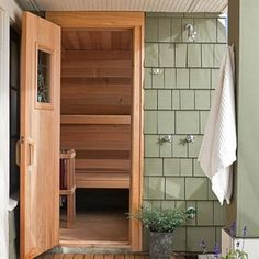 Outdoor shower with sauna by CTA Design Builders, Inc. Sauna Design, Home Gym Design, House Design, Jacuzzi, Modern Saunas, Sauna Shower, Master Suite Addition, Outdoor Sauna, Indoor Outdoor