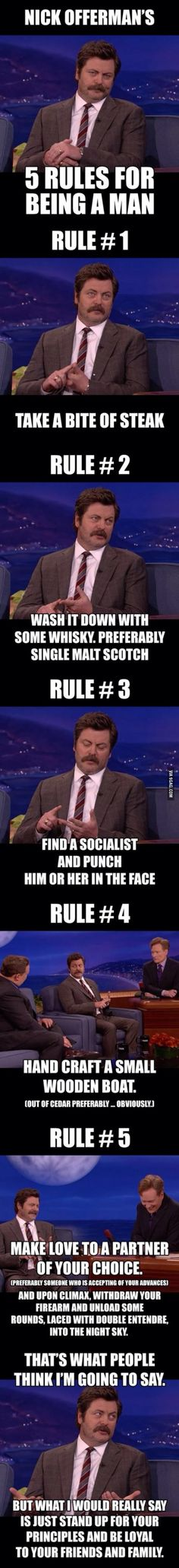 Nick Offerman Rules For Being A Man