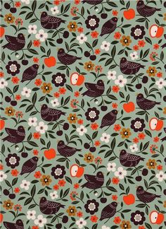turquoise bird flower oxford fabric by Cosmo from Japan - Animal Fabric - Fabric - kawaii shop modeS4u