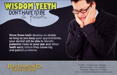 Suffering the pain of wisdom teeth doesn't have to be a rite of passage. At Richmond Smile Center, we consult with teens and parents on extraction options. #dentistrichmond #WisdomTeeth