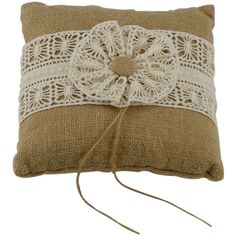 <div><div>This burlap ring bearer pillow is perfect for a casual or rustic wedding. The top has ...
