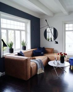 so in love with this big and comfortable leather couch in the livingroom of mittlillehjerte from norway ✨💗 howwelive repost interior Navy Living Rooms, Living Room Sofa, Living Room Furniture, Home And Living, Modern Living, Small Living, Brown Furniture, Brown Leather Couch Living Room, Furniture Stores