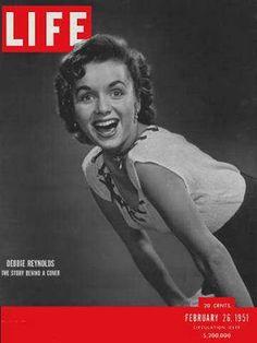 "Life Magazine cover, ""Debbie Reynolds, the story behind a cover"", February 1951 Debbie Reynolds Carrie Fisher, Eddie Fisher, Life Cover, Look Magazine, Classic Hollywood, Vintage Hollywood, Hollywood Star, Hollywood Glamour, Vintage Magazines"