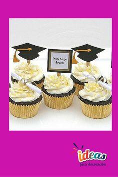 ¡Decora tus cupcakes para una graduación,checa estas ideas! #Repostería