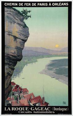 """chemins de fer de paris à orléans - La Roque-Gageac - Dordogne - 1929 - illustration de Chrales hallo dit """"alo"""" - France -"""