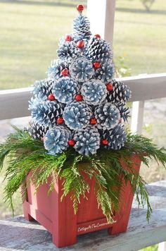A tutorial on how to make pine cone Christmas trees