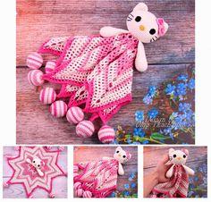 Hola Kitty Lovey seguridad bebe frazada manta ganchillo Crochet Lovey, Newborn Crochet, Cute Crochet, Crochet Toys, Blanket Crochet, Crochet Security Blanket, Baby Security Blanket, Amigurumi Patterns, Crochet Patterns