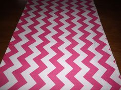 Pink and White Chevron Table Runner by longrunners on Etsy, $16.00