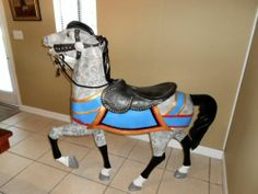 Folk Art Carousel Horse Full Size Hand Painted | eBay