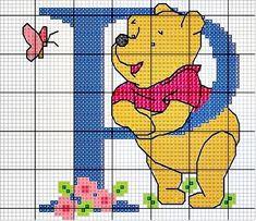 #Monograma Ursinho Pooh - letra P #bordado #CoatsCorrente