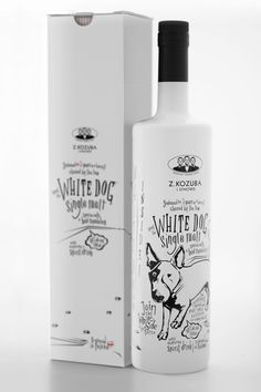 """White Dog is a single malt spirit perfect in cocktails as well as pure. Product is dedicated to young successful people interested in new trends. Illustration is inspired by a comic and street art. In spite of its fashionable modern look graphic design refers to elegant, vintage brand look. This effect is due to colours reduction and highest quality of used materials achieved."""