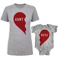 Aunt Shirt and Niece Romper Split Heart Set